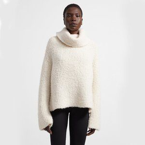 Theory Cowl Neck Alpaca Wool Boucle Sweater